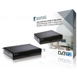 Récepteur decodeur tnt hd DVB-T2 haute définition noir magnétoscope numérique