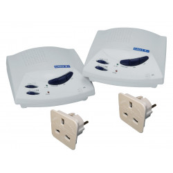 White hands free 3 channel wireless intercom with volume control and channel selector. sold in pairs
