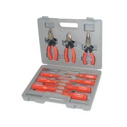 Scatola con 11 attrezzi 3 pinze 1 testore tensione 7cacciavite attrezzatura attrezature utensileria