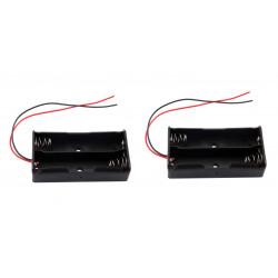3.7V 2 X supporto della clip cassa della scatola nera con un cavo per 2 18650