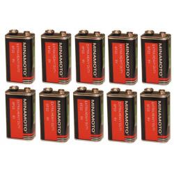 Battery 9vcc zinc carbone (10 pcs) 400ma (6lr61 6lf22 1604) battery zinc carbonne power supply