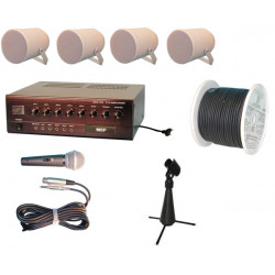 Pack amplifier electronic 90w mono pa + wire microphone + louspeaker amplifier without 220vac cassette player public address cas