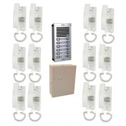 Portier phonique 12bp complet (câble à rajouter) interphone 12 logements audio collectif immeuble