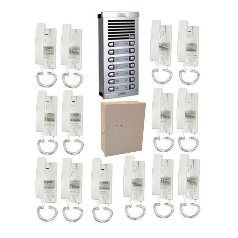 Portier Phonique 14bp Complet Câble à Rajouter Interphone 14 Logements Audio Collectif Immeuble Eclats Antivols