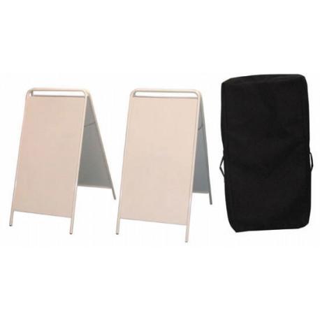 Set of 2 white display units + storage bag