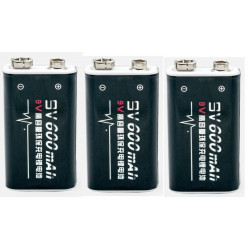 3 rechargeable batteries 6F22 006p 9V Li-ion 600mah
