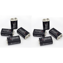 8 baterías recargables 6F22 006P 9V 8.4V 600mAh MN1604 Li-ion 4022 a1604 kr9v