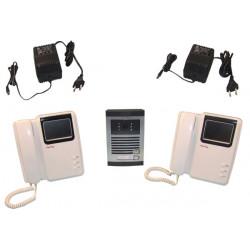 Interphone electronique maison (1 caméra 2 moniteurs) villa portier video couleur 6 fils saillie