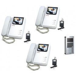 Intercom electronic colour intercom surface (1 camera + 3 monitors)