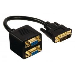 DVI-Kabel DVI-I 24 + 5p männlich - 2x VGA Buchse 0,20 m Schwarz