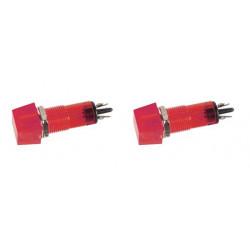 Lot de 2 voyants carre 11.5 x 11.5mm 220v rouge indicateur ccaf220rbl signal lumineux