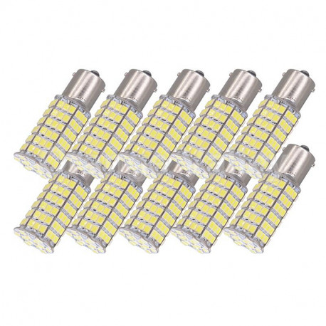 10 x 12v led bulb ba15s 120 6w 7w auto 3528 1210 smd white light beacon