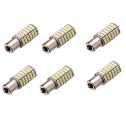 6 x Lampadina 12v 6w 7w LED ba15S 120 auto 3528 1210 smd bianco faro