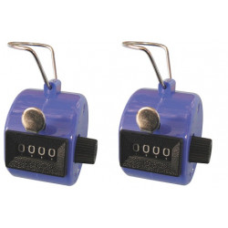 2 X Blue Hand Held Tally Counter 4 Digit Mechanical Palm Clicker Counter