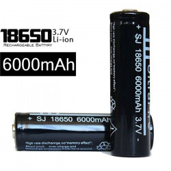 4 X 18650 Black Batteries Rechargeable Li ion 3.7v 6000mah Battery For Torch Headlamp