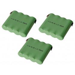 Pack de 3 accus ni mh 4.8v 600mah 900mah cosses a souder batterie rechargeable