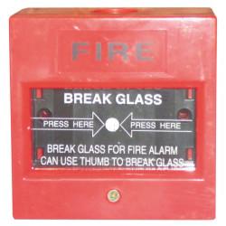 Druckknopf unter einem zu brechenden glas no ausgang gerat fur brandzentrale ae bg20 brand