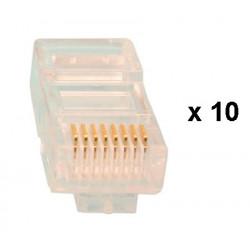 10 fiches rj45 plug cristal 8p/8c reseau télephonique internet plug lan connecteur ethernet cat6e
