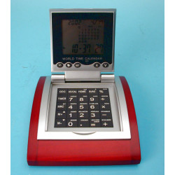 Calculatrice electronique worldtime alarme convertisseur euro socle bois calculette ec12d