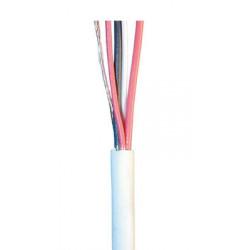 Cable souple blinde blanc 2x0.22 2x0.5 ø4mm (le mètre) fil 2x0,22 2x0,50 cablage alarme telephone