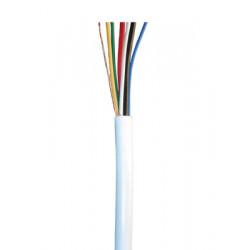 Cable souple blinde 4x0,22 2x0,50 blanc ø4.5mm (le mètre) fil 4x0,22 2x0,5 cablage alarme telephone