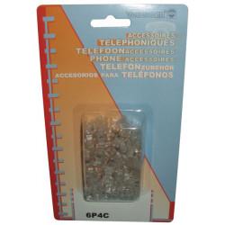 Fiche rj11 6p/4c pour telephonie (les 50 pièces) pour cordons telephoniques 6p4c/b