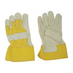 Gant de travail cuir jaune swg01 protection bricolage jardinage securite main