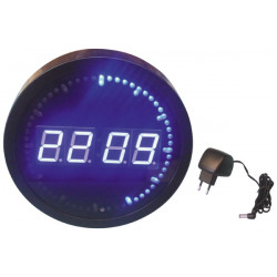 Led display wall clock ø25cm blue