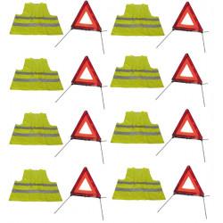 Kit seguridad carretera 8 triangulos señalamiento r27 en11 + 8
