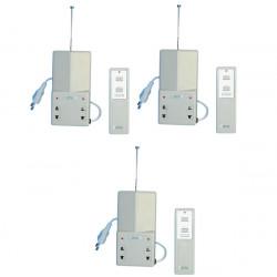 Pack de 3 interrupteurs electriques radio a distance 1 canal 10/30m 220vca eclairage domotique