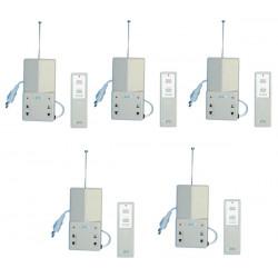 Pack de 5 interrupteurs electriques radio a distance 1 canal 10/30m 220vca eclairage domotique