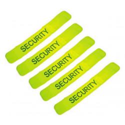 Pack de 5 brassards securite en471 jaune fluo security velcro visibilite protection bras