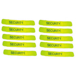 Pack 10 armbinde gelb fluoreszierend klettverschluss sicherheit verkehrsichrrheit hohe sicht armschutz