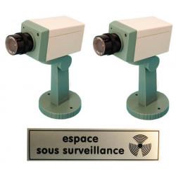 Pack 2 cameras factice motorisee voyant clignotant etiquette panneau sticker espace surveillance
