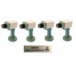 Pack 4 camera factice motorisee voyant clignotant etiquette sticker panneau espace sous surveillance