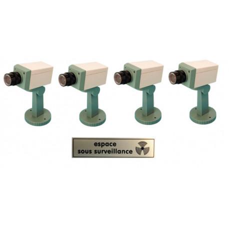 Pack 4 camara video facticia + piloto + soporte vigilancia videovigilancia sistema video vigilancia camaras video facticias+etiq