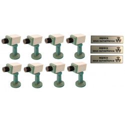 Pack 8 cameras factice motorisee voyant clignotant support 3 etiquette espace sous surveillance