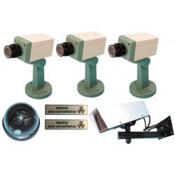 Pack 5 imitación de cámaras (3 fc motorizados + apoyo fc + cfd cúpula + 1 cfc + 1 apoyo cfc) + 2 etiquetas disuasiva ''espacio b