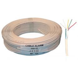 Cable 4x0.22 souple blinde blanc ø4mm (100m) fil avec ecran 4x0,22 cablage alarme telephone