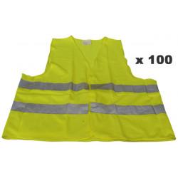 Pack 100 chaleco reflectante tamaño xxl polyester amarillo chalecos seguridad de camino mejoracion visibilidad