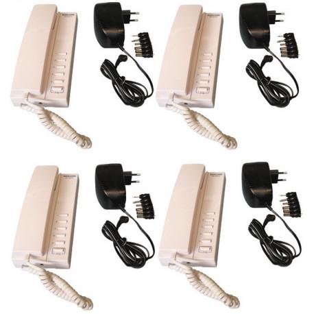 Pack 4 handset intercom wire kompatibel sprechstellen 5 + 4 stabilisierte stromversorgung elektrische stromversorgung 220vac 12v