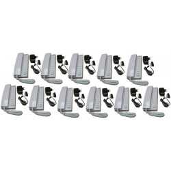 Pack 11 kocom white 12vdc 11 way all master intercom with mounting bracket. powered by 8 x aa batteries + 11 electric power supp