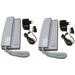 Pack 2 kocom white 12vdc 11 way all master intercom with mounting bracket. powered by 8 x aa batteries + 2electric power supply