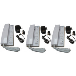 Pack 3 handset intercom wire kompatibel sprechstellen 11 + 3 stabilisierte stromversorgung elektrische stromversorgung 220vac 12
