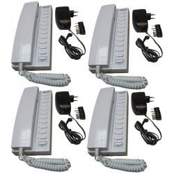 Pack 4 handset intercom wire kompatibel sprechstellen 11 + 4 stabilisierte stromversorgung elektrische stromversorgung 220vac 12