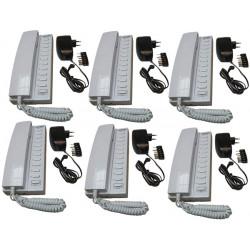 Pack 6 handset intercom wire kompatibel sprechstellen 11 + 6 stabilisierte stromversorgung elektrische stromversorgung 220vac 12
