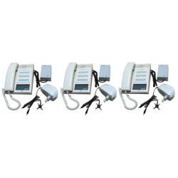 Pack 3 handset intercom cream 12 station master station + 3 intercom power supply