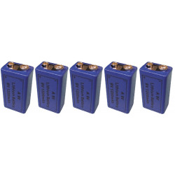 5 pile 9v lithium 1200ma a9v 522 mn1604 a1604 4022 6f22 6lf22 am6 6lr61 1604a grande capacite