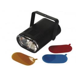 Stroboscope miniature 220vca 25w avec 3 filtres couleur interchangeables vdl25st