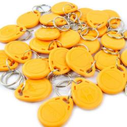 100 pcs tag cle badge clef em4305 em4100 em4102 RFID 125KHz enregistrable jaune